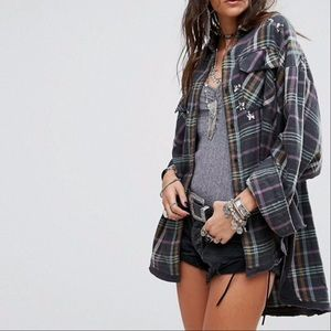 Free People Constellations Within Plaid Jacket